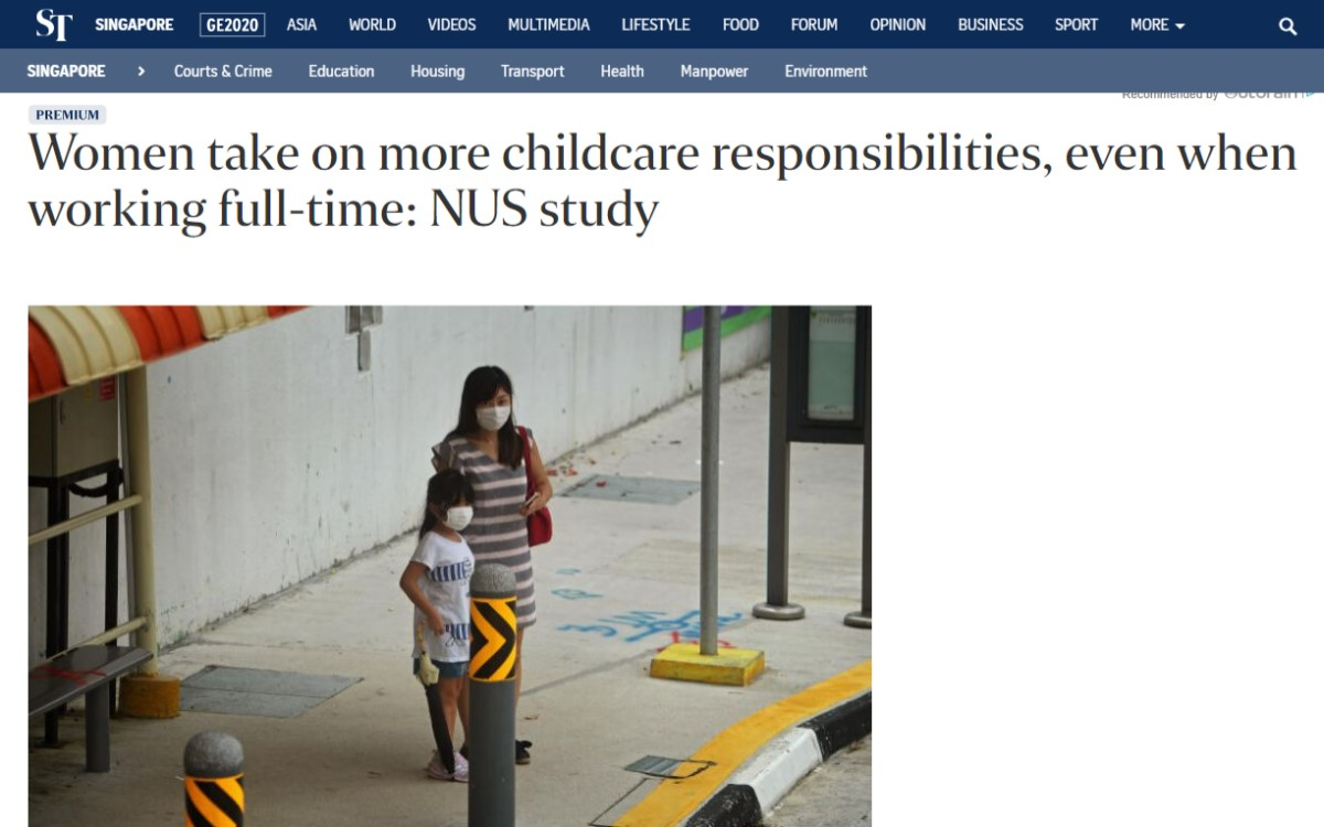 Women Take On More Childcare Responsibilities, Even When Working Full-time: NUS Study